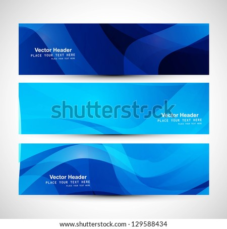 Abstract blue colorful header wave whit design - stock vector