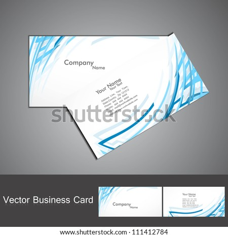 abstract blue colorful line wave business card set vector - stock vector