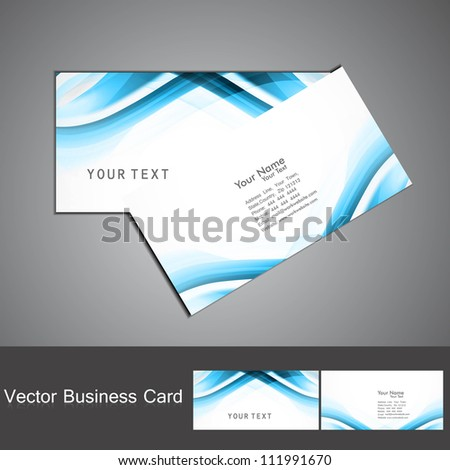 abstract blue colorful wave business card set vector illustration - stock vector