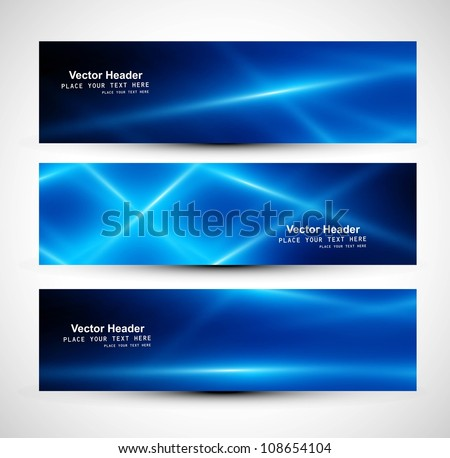 abstract blue colorful website header or banner set vector - stock vector