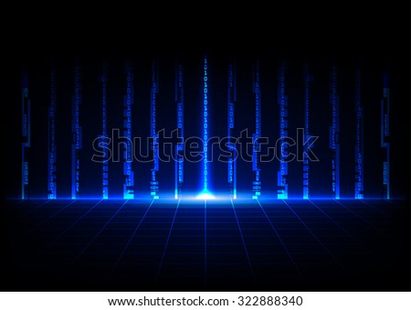 abstract blue concept technology with binary code design background - stock vector