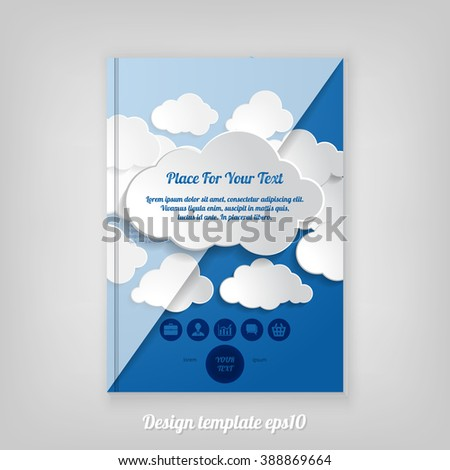 Abstract blue cover design with pattern of clouds, Brochure Design. Cover, Corporate Leaflet Template - stock vector