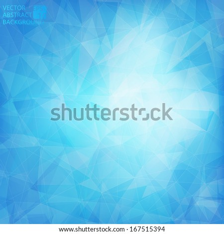 Abstract blue crystal background - stock vector