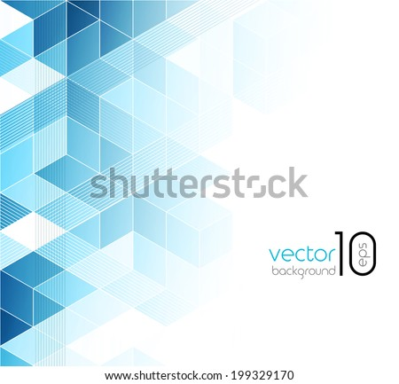 Abstract blue cubes vector background. - stock vector