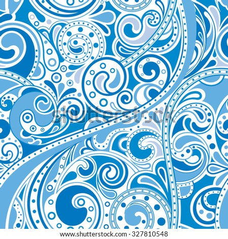 Abstract Blue Curly Floral Pattern - stock vector