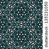 Abstract blue dots on black kaleidoscopic seamless pattern, vector - stock vector