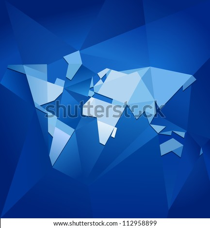 Abstract blue facet world map vector. Business theme.