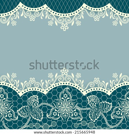 Abstract blue floral vintage card design with copy space. - stock vector