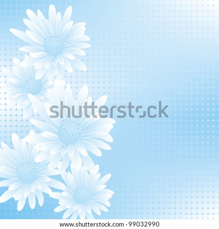abstract blue flowers on geometric cell background