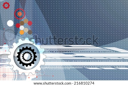 abstract blue gear vector new technology background communication and information business industry - stock vector