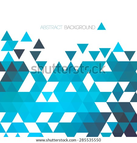 Abstract blue geometric background with triangle. Vector illustration - stock vector