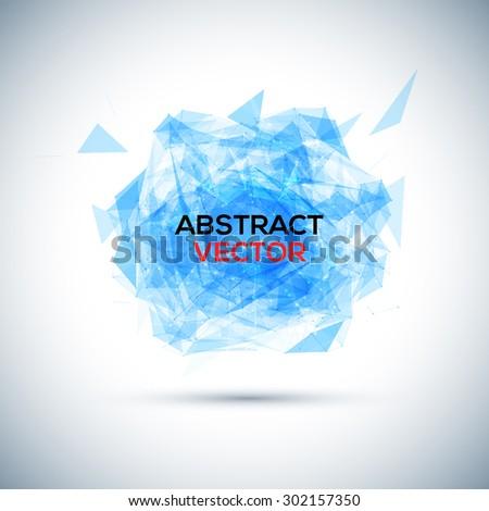 Abstract blue geometric explosion. Vector speech buble. - stock vector