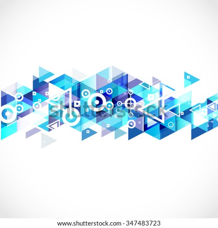 Abstract blue geometric strip modern graphic for business or technology presentation, vector illustration