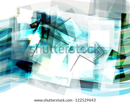 Abstract Blue Geometrical Background With Moving Squares And Waves. Eps10