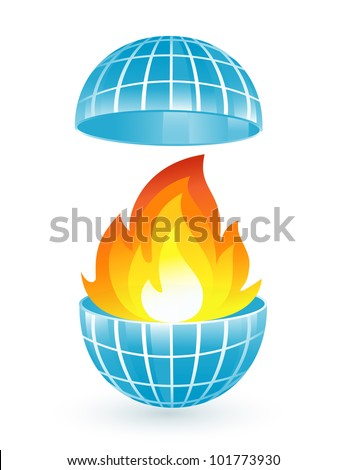 Abstract blue globe with fire flames