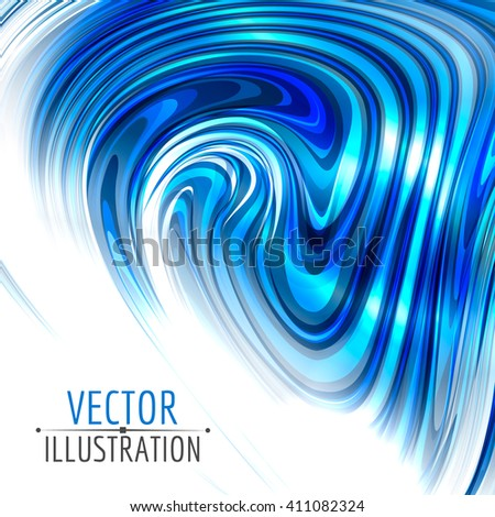 Abstract blue glossy swirl, on white background. Vector graphic design.