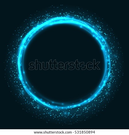 Abstract blue glowing circle vector background. Light round frame with copy space.