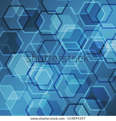 Abstract blue gradient background with hexagon, stock vector