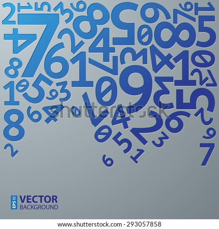 Abstract blue gradient extruded random numbers on grey background pattern. RGB EPS 10 vector illustration - stock vector