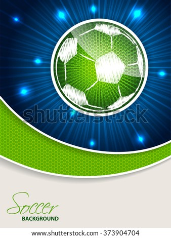 Abstract blue green soccer brochure template with bursting scribbled ball - stock vector