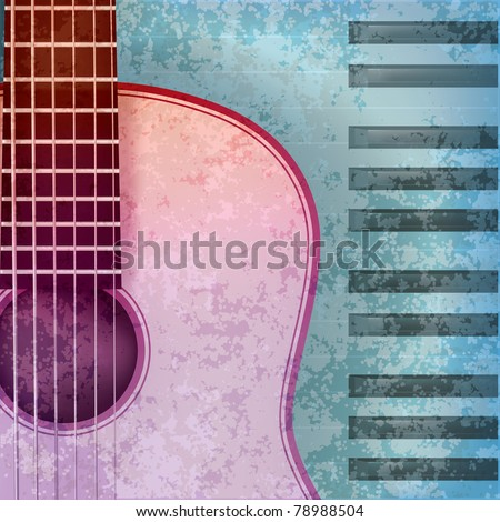 abstract blue grunge background with acoustic guitar and piano - stock vector
