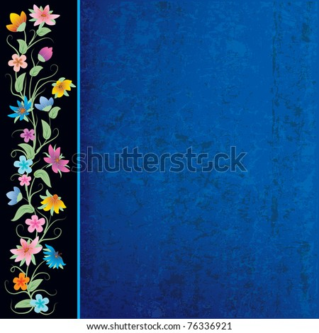 abstract blue grunge background with flowers on black - stock vector