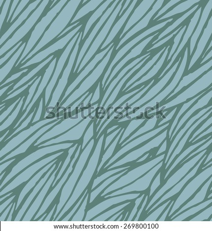 Abstract blue hand-drawn waves seamless pattern background. Vector illustration - stock vector