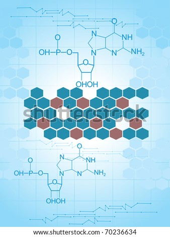 abstract blue honeycomb background with chemical formula
