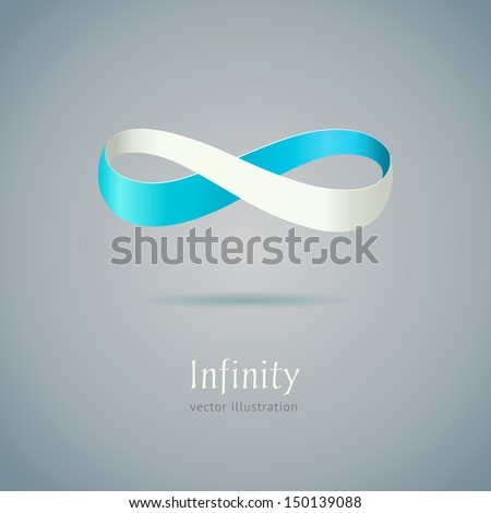 Abstract blue Infinity symbol on gray background. Vector business creative concept - stock vector