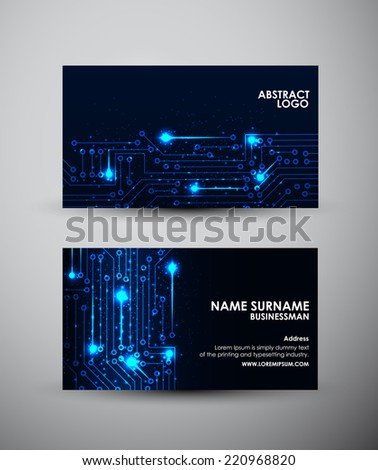 Abstract blue lights Business card vector design template. Vector illustration - stock vector