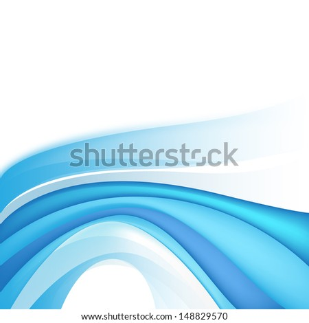 abstract blue line wave background - stock vector