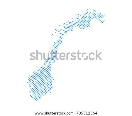 Norway Modern Pixel Map Stock Vector Shutterstock - Norway map eps
