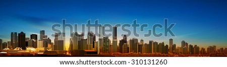 abstract blue morning background with panorama of vancouver