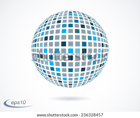 Abstract blue mosaic sphere