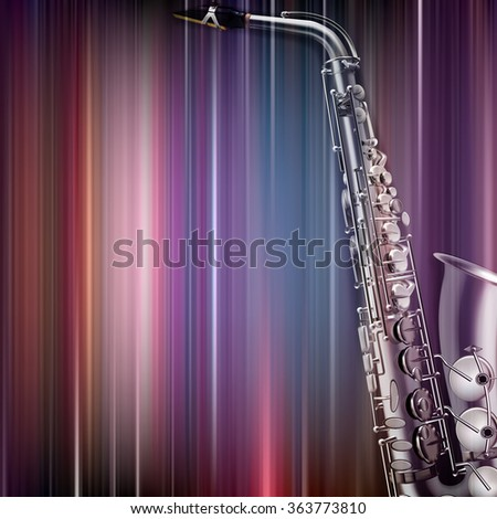 abstract blue music background with saxophone - stock vector