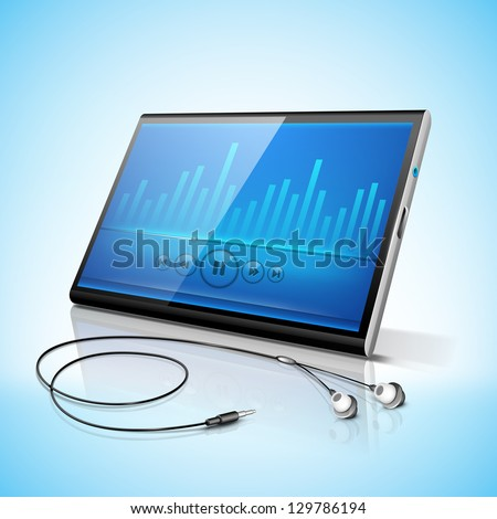 Abstract blue musical volume background, banner, poster or flyer with headphone and tablet screen. - stock vector