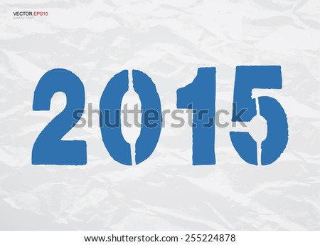 Abstract blue numbers of year 2015 on crumpled texture paper background. Vector illustration.