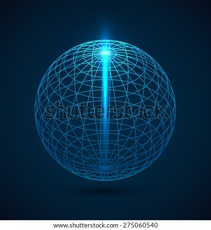 Abstract blue outline globe sphere background with ray of light. Vector illustration - stock vector