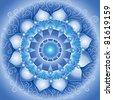 abstract blue pattern, mandala of vishuddha chakra vector - stock vector
