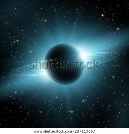 Abstract Blue Planet With Rings Design