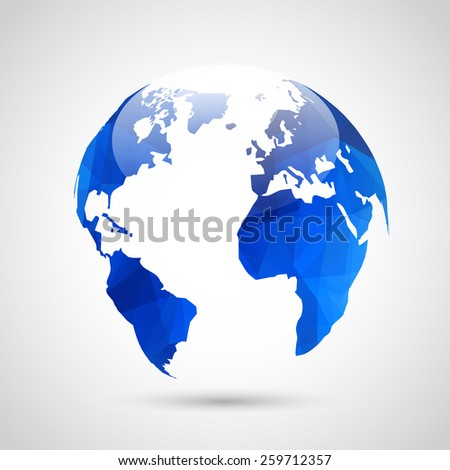 abstract blue polygonal globe on gray background. Vector illustration.