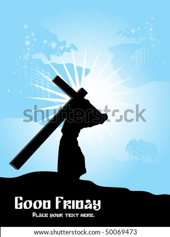 abstract blue rays background with jesus carries cross - stock vector
