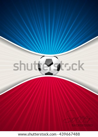 Abstract blue red soccer brochure template with ball - stock vector
