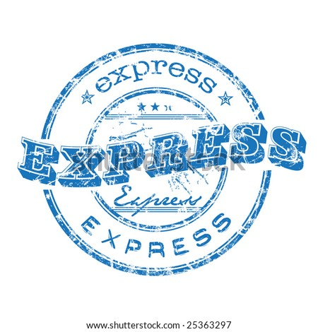 Abstract blue rubber office stamp with the word express written on the stamp - stock vector