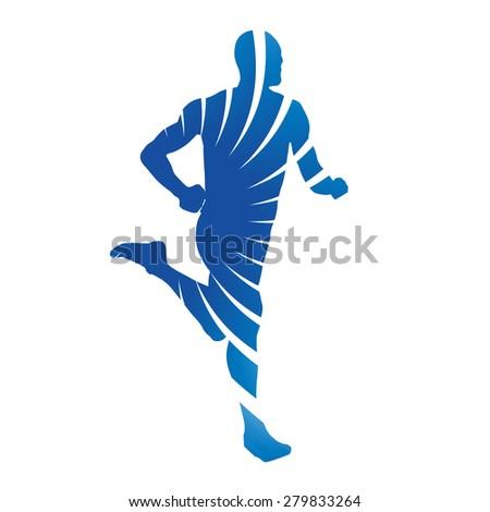 Abstract blue runner - stock vector