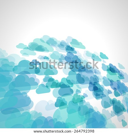 abstract blue scattered cloud vector background, cloudy perspective - stock vector