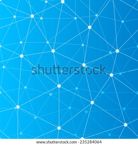 Abstract blue seamless background with many connected white dots - stock vector