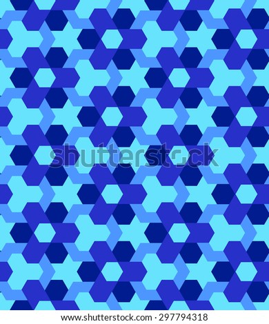 Abstract blue shades decorative seamless geometric pattern - stock vector