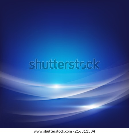 Abstract blue smooth wave flow background, vector illustration