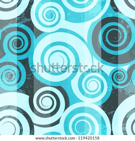 Abstract blue spiral seamless - stock vector